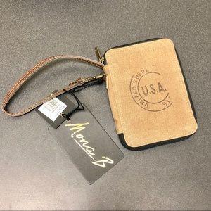 Mona B Canvas & Leather Wristlet Wallet USA Supply